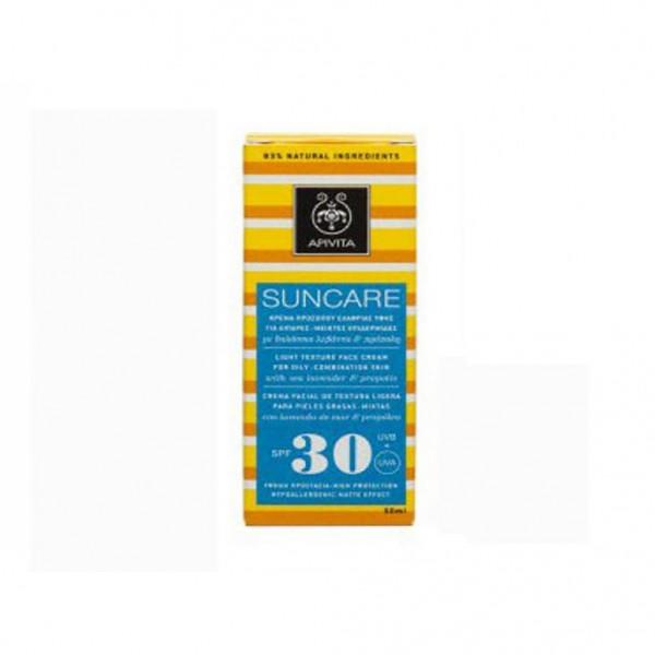 APIVITA Suncare Αντιηλιακή Κρέμα Προσώπου Υψηλής προστασίας για λιπαρές / μεικτές επιδερμίδες SPF 30, 50ml