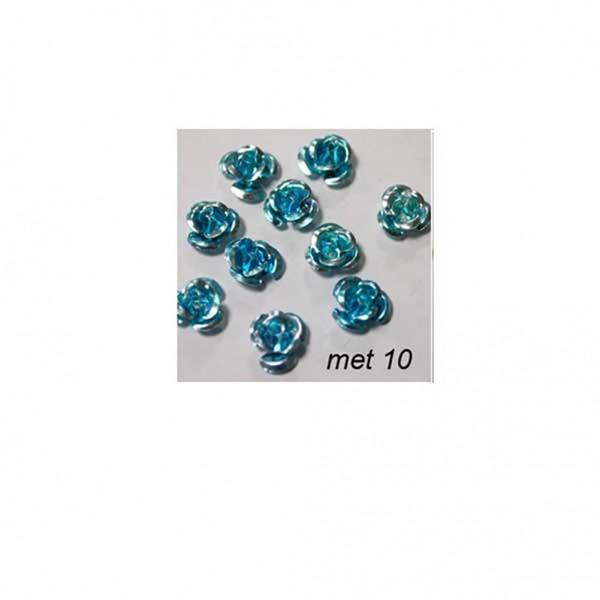 Μεταλλικά Τριαντάφυλλα 10τμχ- Μπλε